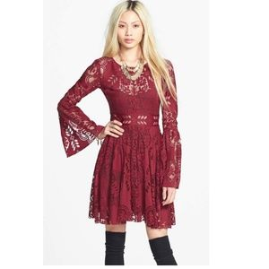 Free People Bell Sleeve Lace Cutout Skater Dress